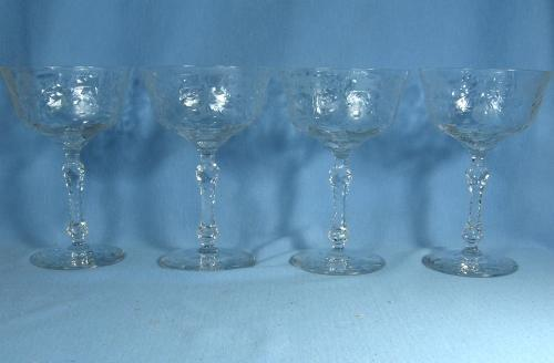 old vintage PAIRPOINT Victorian Cut Crystal CHAMPAGNE Glass Group