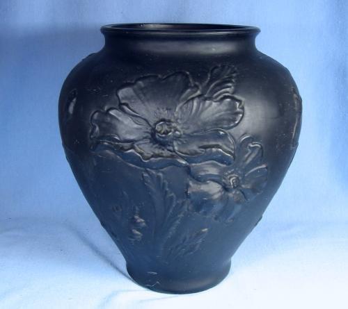 Tiffin BLACK AMETHYST Satin Glass Vase - Antique 1920's