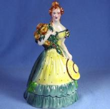 old Goldscheider Figurine - Antique Porcelain  Colonial Lady with Huge Bonnet