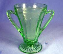 old vintage CAMEO BALLERINA Green Depression Glass by Anchor Hocking