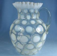 old Fenton Coin Dot Ruffled Opalescent Art Glass Water Pitcher