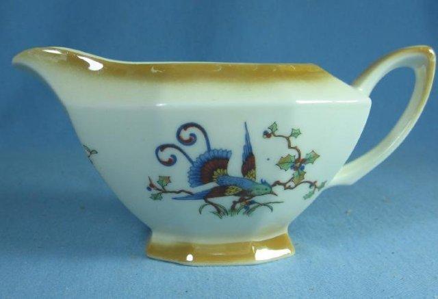 Beyer & Bock Porcelain Phoenix BIRD and Flower Pattern Creamer Pitcher - Antique Germany Lustre Porcelain