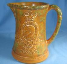 KING EDWARD VIII Coronation 1937 Mottled Pottery Pitcher
