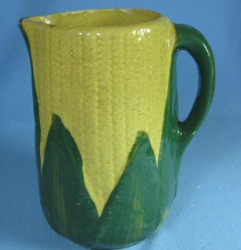 Yelloware  Yellow ware Pottery CORN Pitcher - Stoneware pottery