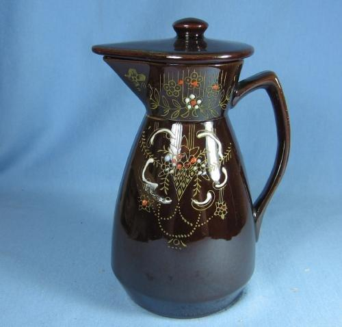 Decorated Redware Teapot Pitcher - Vintage Pottery