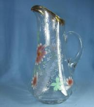 old vintage Hand Painted Victorian Glass Tankard PITCHER Decorated with Painted DAISY