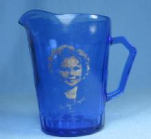 old SHIRLEY TEMPLE Antique Hazel-Atlas Cobalt Glass Creamer Pitcher