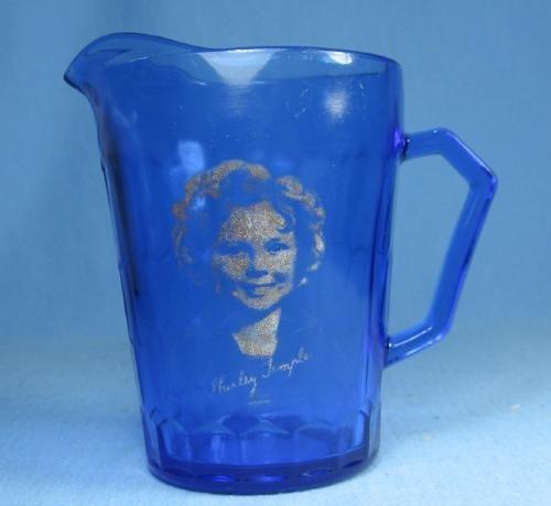 old SHIRLEY TEMPLE Antique Hazel-Atlas Cobalt Glass Creamer Pitcher
