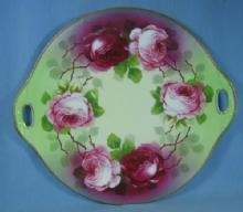 Pottery  Painted & Artist Signed Porcelain Plate  - Red & Pink  ROSES