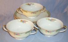 Set of Three NORITAKE Porcelain Cream Soups with Plates