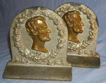 ABE LINCOLN Cast Metal Bookends - Metalware