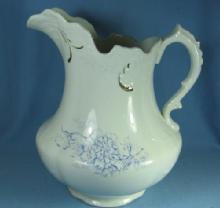 Ironstone Water PITCHER - Blue Decoration Stoneware Pottery