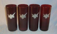 Four SMIRNOFF Ruby Red Glasses - Advertising