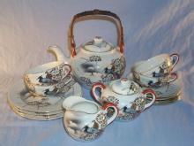 Beautiful 17 Piece Porcelain Oriental Tea Set with LITHOPANE Cups