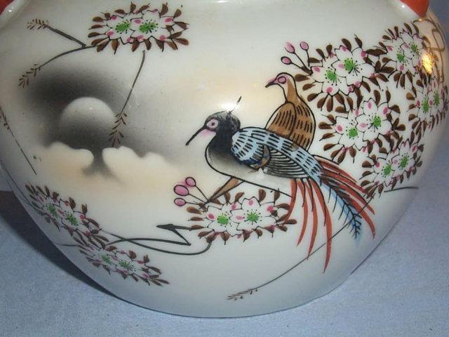 Beautiful 17 Piece Porcelain Oriental Tea Set with LITHOPANE Cups