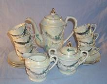 17 Piece DRAGONWARE Porcelain Tea Set with LITHOPANE Cups