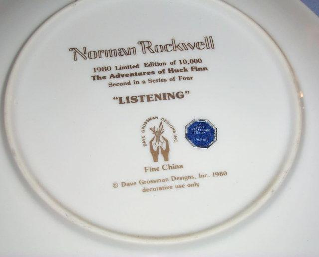 Norman Rockwell Huck Finn Series II LISTENING Porcelain Collector Plate