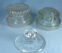 old antique Group of Vintage Glass Apothecary Jar or Bottle Lids