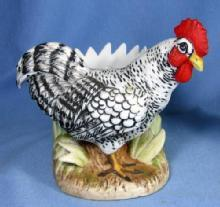 old Lefton PLYMOUTH ROCK Chicken Figurine Vase - Vintage Porcelain Japan