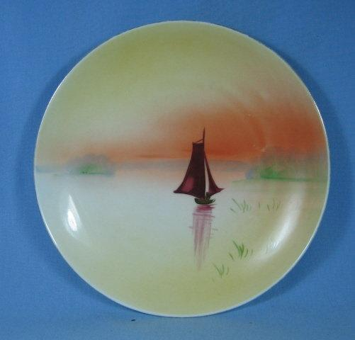 NIPPON Japan Handpainted SAILING Ship Boat - Porcelain Decorator Plate