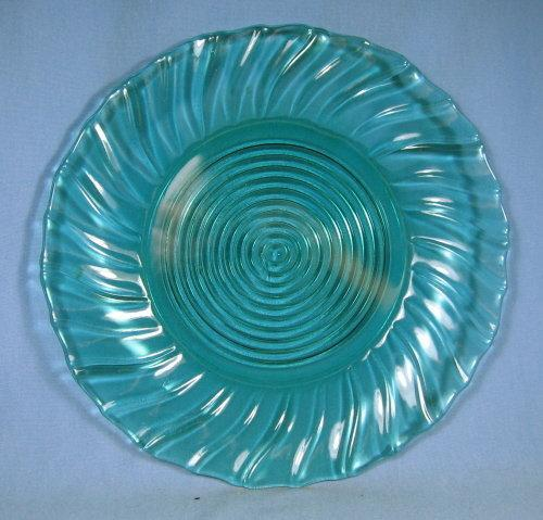 old SWIRL Depression Glass Jeannette ULTRA-MARINE Plate