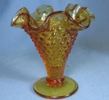 old Vintage original Fenton Amber Glass Hobnail Vase