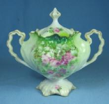 RS Prussia Pedestal Covered Sugar Bowl - Vintage CABBAGE Mold