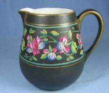 Pottery  Porcelain Hand Painted Pitcher - Black with Bright Florals