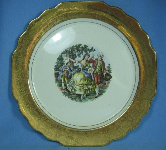 22k Gold Rim COLONIAL Scene Porcelain Plate