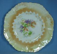 Hand Painted German Lustre Luster Decorator Plate - Antique Porcelain