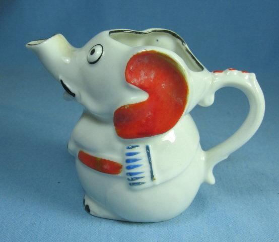 ELEPHANT Creamer Pitcher Hand Painted - Pottery/Porcelain