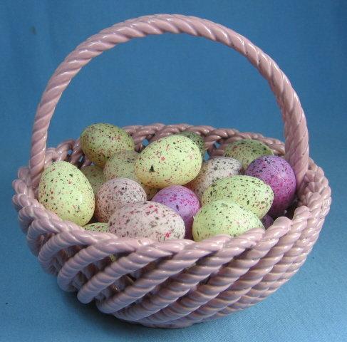 Porcelain Easter  BASKET filled with Easter Eggs