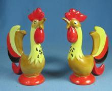 Holt Howard COQ ROUGE ROOSTERS Salt & Pepper Shakers - Vintage 1960 Pottery