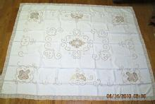 Madeira Linen Tablecloth 8 Napkins Embroidery Cutwork - textiles