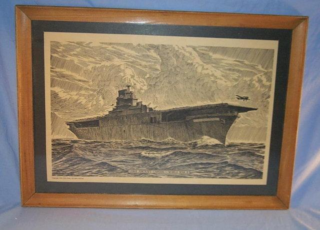 WORLD WAR II Aircraft Carrier Framed Print - Military