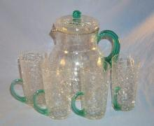 CRACKLE GLASS Lemonade Pitcher with Four Matching Cups