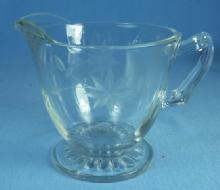 old Vintage Elegant Etched clear Glass Creamer Pitcher
