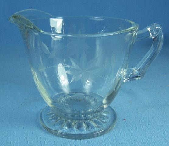 old Vintage Elegant Etched clear Glass Creamer Pitcher