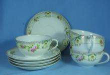 Hand Painted Nippon Japan  Tea Cup and Saucer Group - Vintage Nippon Porcelain