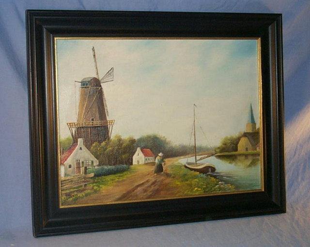 Signed  WINDMILL Framed Oil Painting - Misc.