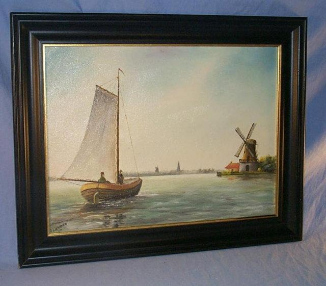 Signed SAILBOAT & WINDMILL Framed Oil Painting - Misc.