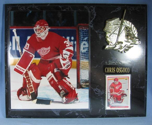 Detroit RED WING Framed CHRIS OSGOOD Photograph and Upper Deck Trading Card Plaque  - sporting