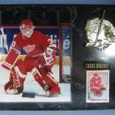 old Detroit RED WING Framed CHRIS OSGOOD Photograph and Upper Deck Trading Card Plaque  - sporting