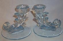 Blue Fostoria BAROQUE Glass Candlesticks