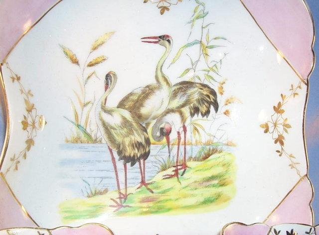 Colorful EGRET Decorated Porcelain Berry Bowl Set