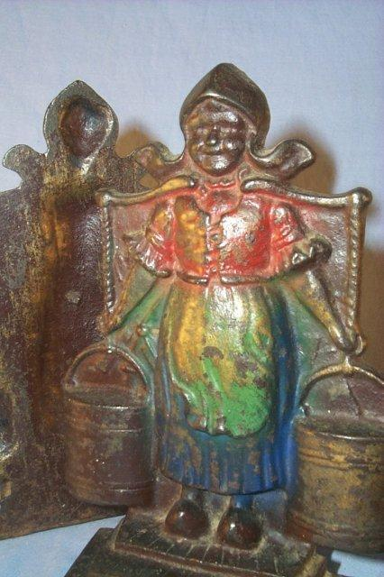 Cast Iron DUTCH GIRL WITH BUCKETS Bookends - Metalware