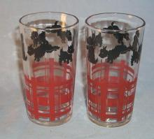 Two  Scottie Dog Water Glasses