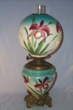 Beautiful IRIS Hurricane Electrified Oil Lamp- Fine Art & Lamps