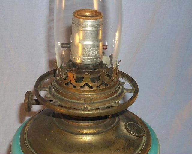 Beautiful IRIS Hurricane Electrified Oil Lamp- Fine Art & Lamps