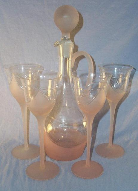 Satin Pink Liqueor Decanter / Stem Glass Set